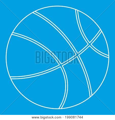 Basketball icon blue outline style isolated vector illustration. Thin line sign