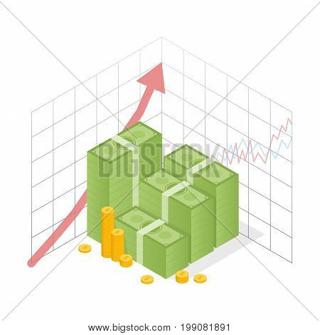 Isometric Icon Money Growth. Pile Dollar And Gold Coins With Up Arrow. Vector Illustration