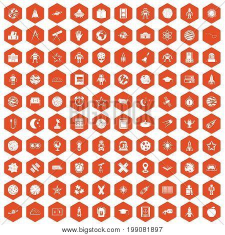 100 astronomy icons set in orange hexagon isolated vector illustration