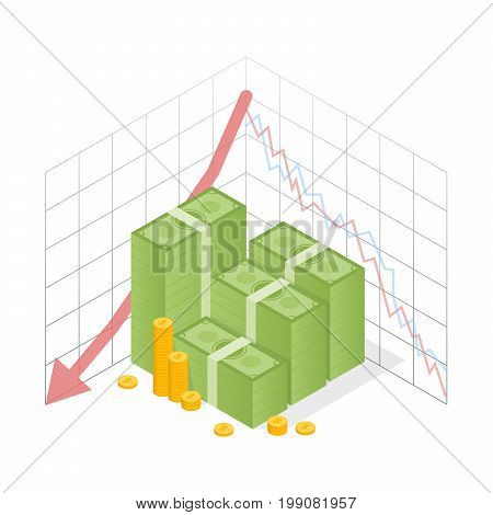 Isometric Icon Pile Of Cash Red Recession Graph With Downward Arrow. Green Dollar And Gold Coins. Ve