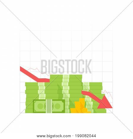 Icon Pile Of Cash Red Recession Graph With Downward Arrow. Green Dollar And Gold Coins. Vector Illus