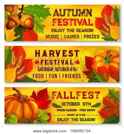 Autumn harvest festival banners for live music fest or October seasonal fall outdoor picnic event. Vector design set of autumn maple, oak acorn and rowan leaves or rowanberry and pumpkin