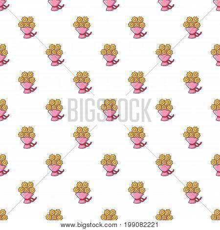 Wedding flower bucket pattern in cartoon style. Seamless pattern vector illustration