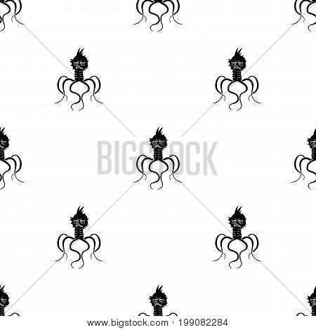 Blue virus icon in black design isolated on white background. Viruses and bacteries symbol stock vector illustration.