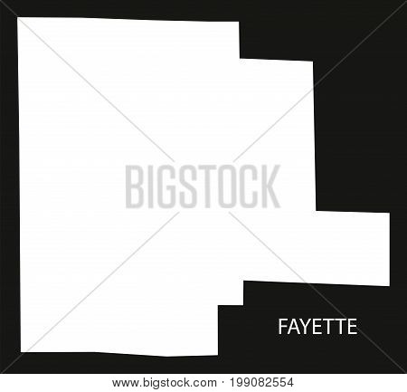 Fayette County Map Of Alabama Usa Black Inverted Illustration