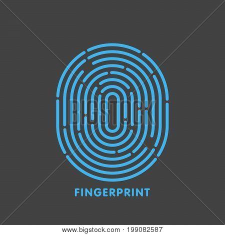 Blue Line Fingerprint In Black Background Vector Illustration