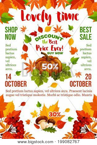 Sale banner with autumn leaf and fall season pumpkin. Discount price offer poster template, framed by orange maple leaves, forest tree foliage, pumpkin vegetable, mushroom and rowanberry branches