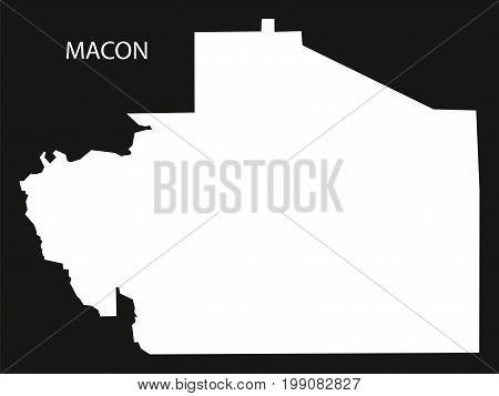 Macon County Map Of Alabama Usa Black Inverted Illustration