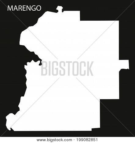 Marengo County Map Of Alabama Usa Black Inverted Illustration