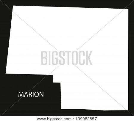 Marion County Map Of Alabama Usa Black Inverted Illustration