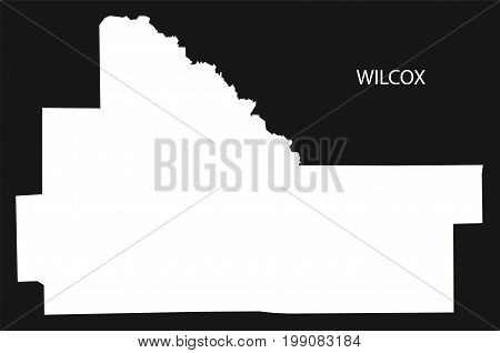 Wilcox County Map Of Alabama Usa Black Inverted Illustration
