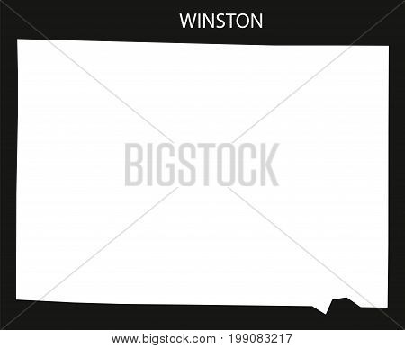 Winston County Map Of Alabama Usa Black Inverted Illustration