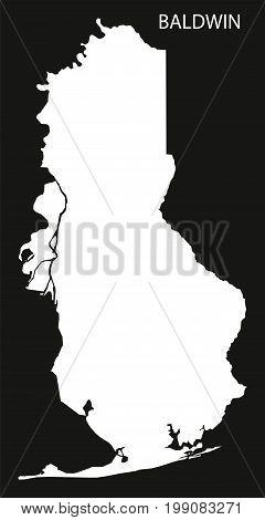 Baldwin County Map Of Alabama Usa Black Inverted Illustration