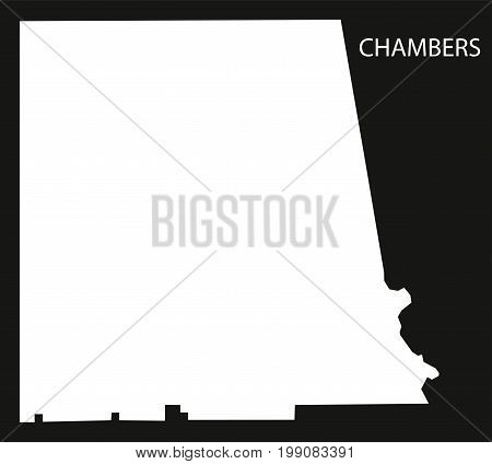 Chambers County Map Of Alabama Usa Black Inverted Illustration