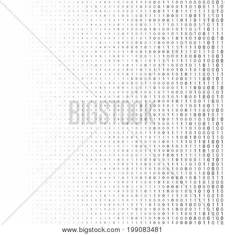 Binary Code Halftone Background. Zero And One Abstract Symbols. Coding Programming Concept Vector Il