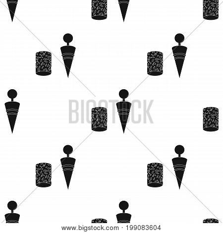Corkscrew and cork icon in black design isolated on white background. Wine production symbol stock vector illustration.