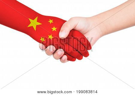 Handshake Between A Child And China