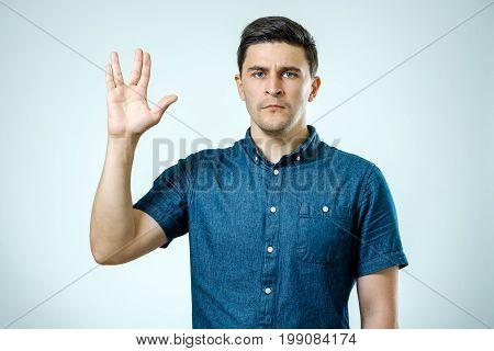Vulcan Salute. Man Welcomes Fans