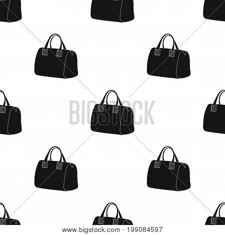 Red lady's bag with handles. Ladies accessory items.  Woman clothes single icon in black style vector symbol stock web illustration.