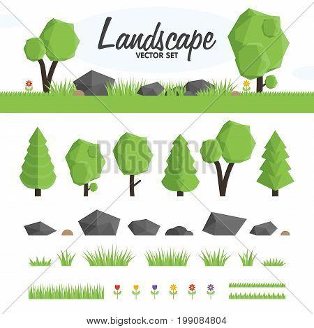 Green Landscape Vector Set