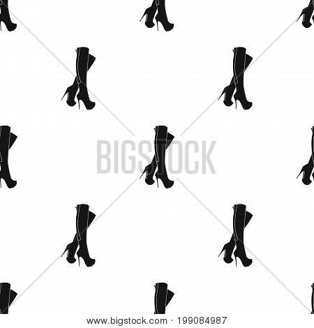 Leather high-heeled women sexy shoes.     Woman clothes single icon in black style vector symbol stock web illustration.