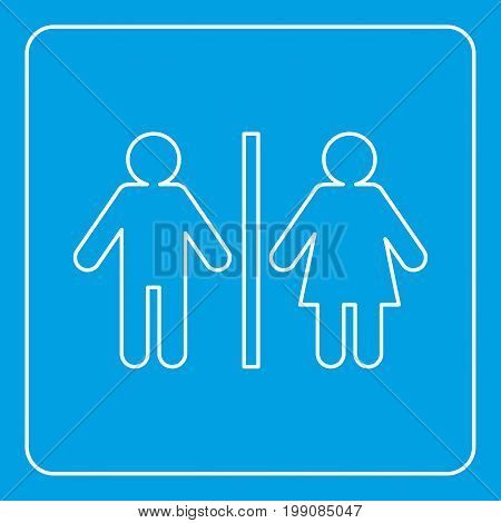 Male and female toilet sign icon blue outline style isolated vector illustration. Thin line sign