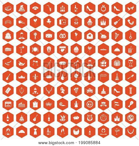 100 banquet icons set in orange hexagon isolated vector illustration