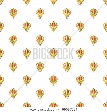 Khanda symbol sikhism religion pattern in cartoon style. Seamless pattern vector illustration