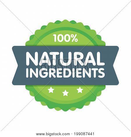 Modern Green Eco Badge. 100 Percent Natural Ingredients Label. Sticker Vector Illustration