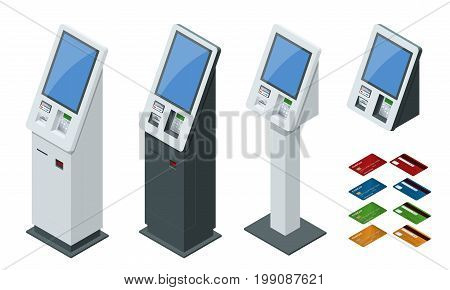 Isometric set vector online payment systems and self-service payments terminals, debit credit card and cash receipt. NFC payments, Payment terminal, Digital touch screen, interactive kiosk concept.