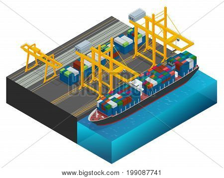 Isometric Cargo containers transshipped between transport vehicles for onward transportation Port warehouse and shipment for infographic Platform supply vessel Logistic support goods tools equipment.