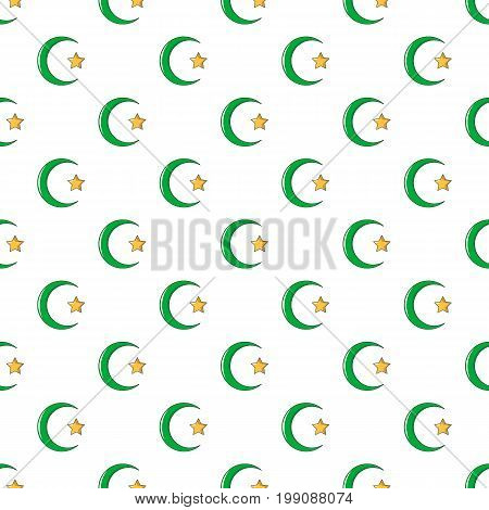 Star, crescent symbol of islam pattern in cartoon style. Seamless pattern vector illustration