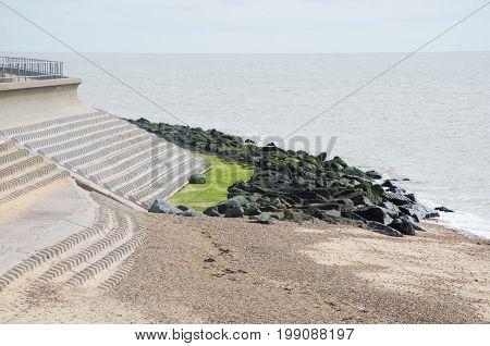 Coastal defences against sea erosion with beach
