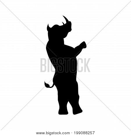 Rhino silhouette stands on two legs isolated on white background