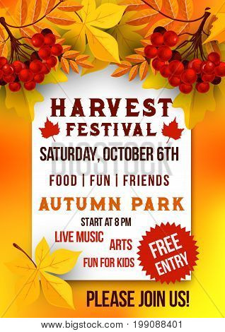 Harvest festival of autumn season poster template. Autumn leaf, rowanberry fruit branch, yellow and orange foliage of maple and chestnut tree banner for Fall Fest holidays flyer design