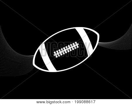 White Silhouette of a Rugby American Football with Waves Over Black Background