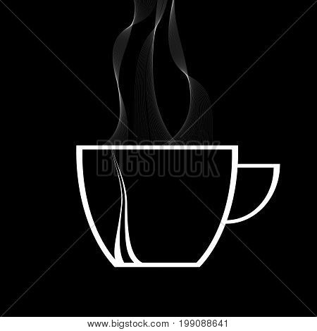 White Silhouette of Decorated Coffee Cup with Steam Over Black Background