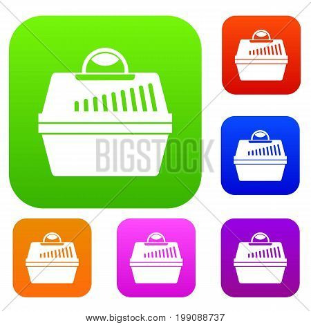 Portable cage for pets set icon in different colors isolated vector illustration. Premium collection