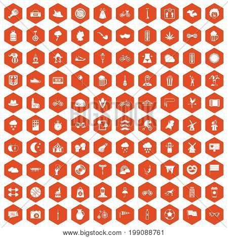 100 bicycle icons set in orange hexagon isolated vector illustration