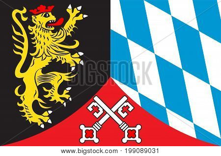 Flag of Upper Palatinate is one of the seven administrative districts of Bavaria Germany located in the east of Bavaria. Vector illustration