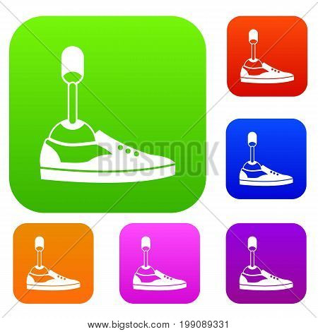 Prosthetic leg set icon in different colors isolated vector illustration. Premium collection