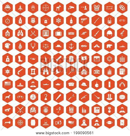 100 bullet icons set in orange hexagon isolated vector illustration