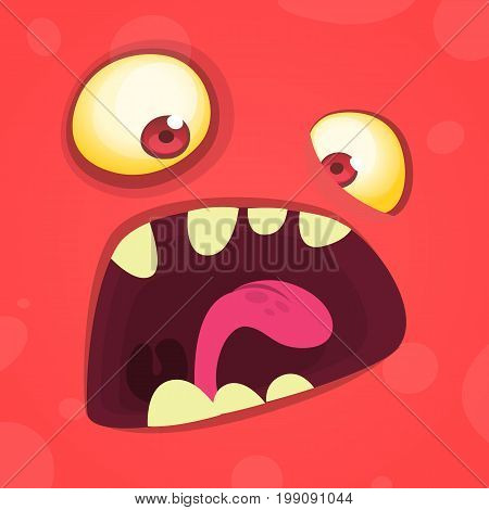 Cartoon angry monster. Vector illustration isolated on white