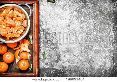 Peeled Tangerines In A Bowl.
