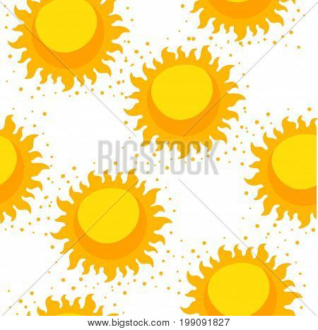 Bright sun for your background or web screensavers. Sun space. Seamless pattern.