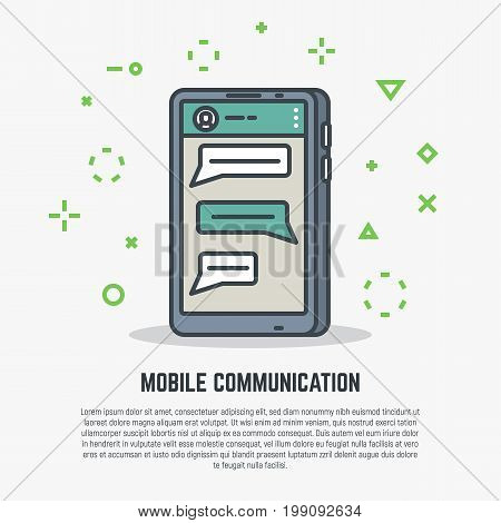 Mobile app for talking. User talking to another person. Speech bubbles on phone screen. Flat style line modern vector illustration with retro colors.