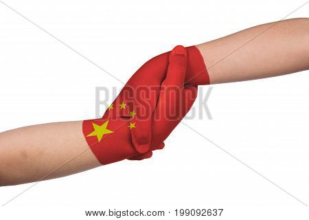 Helping Hands Of Two Children With China Flag Painted