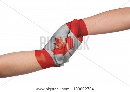 Helping Hands Of Two Children With Canada Flag Painted