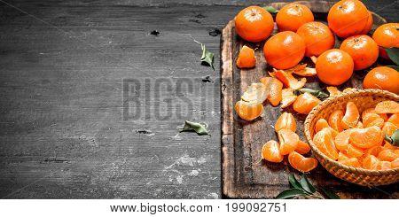 Fresh Tangerines In The Basket.