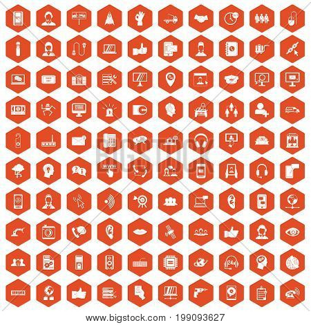100 call center icons set in orange hexagon isolated vector illustration